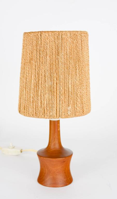 Petite Teak Lamp with a Jute Strand Shade by Jørgen Gammelgaard 2