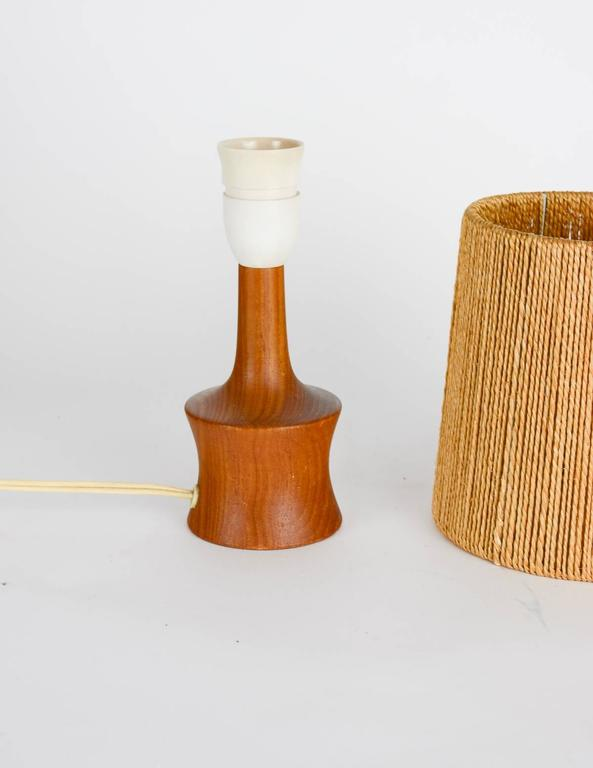 Petite Teak Lamp with a Jute Strand Shade by Jørgen Gammelgaard 3