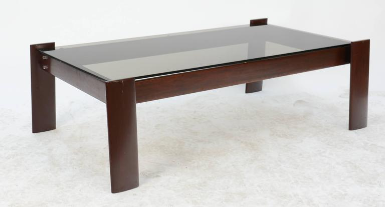 Smoked Glass Coffee Table With Brazilian Rosewood Frame By Percival Lafer 3