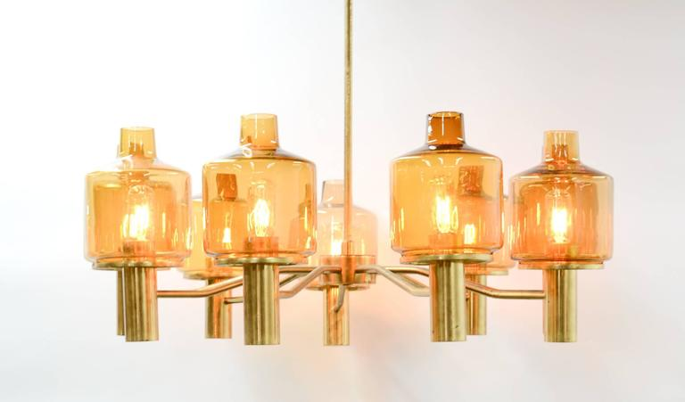 Hans-Agne Jakobsson Nine-Arm Brass Chandelier with Amber Glass 3