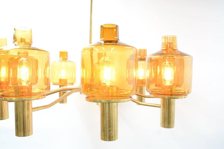 Hans-Agne Jakobsson Nine-Arm Brass Chandelier with Amber Glass 4