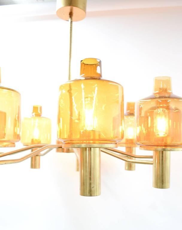 Hans-Agne Jakobsson Nine-Arm Brass Chandelier with Amber Glass 5