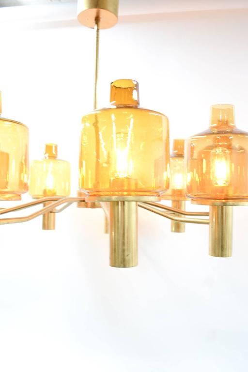 Hans-Agne Jakobsson Nine-Arm Brass Chandelier with Amber Glass 6