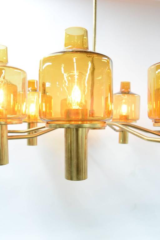 Hans-Agne Jakobsson Nine-Arm Brass Chandelier with Amber Glass 7