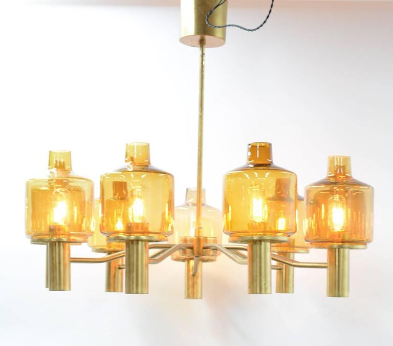 Hans-Agne Jakobsson Nine-Arm Brass Chandelier with Amber Glass 8