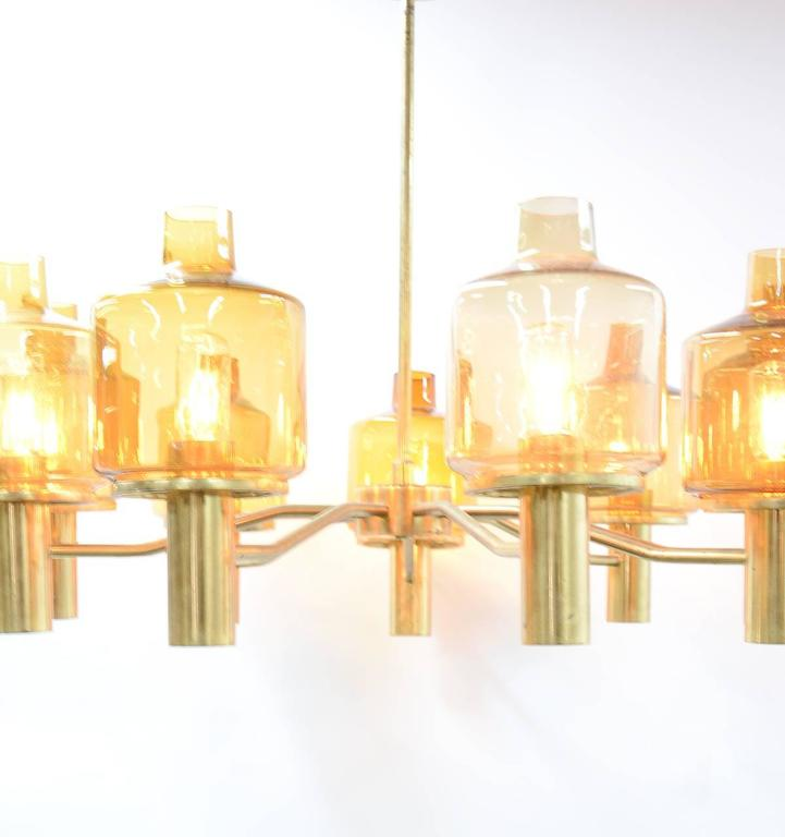 Hans-Agne Jakobsson Nine-Arm Brass Chandelier with Amber Glass 9