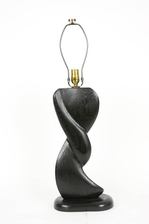 Mid-Century Modern Pair of Cerused Black, Hand-Carved Lamps with Sensual Curves in French Oak For Sale