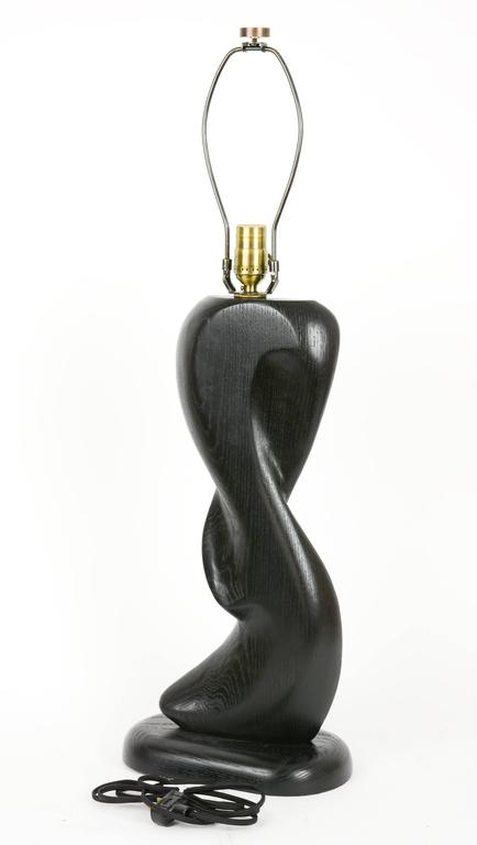 Pair of Cerused Black, Hand-Carved Lamps with Sensual Curves in French Oak In Good Condition For Sale In Portland, OR