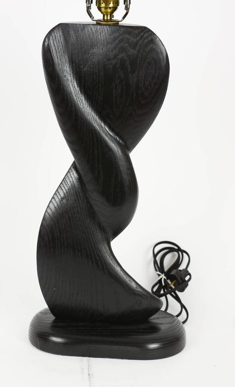 Pair of Cerused Black, Hand-Carved Lamps with Sensual Curves in French Oak For Sale 1