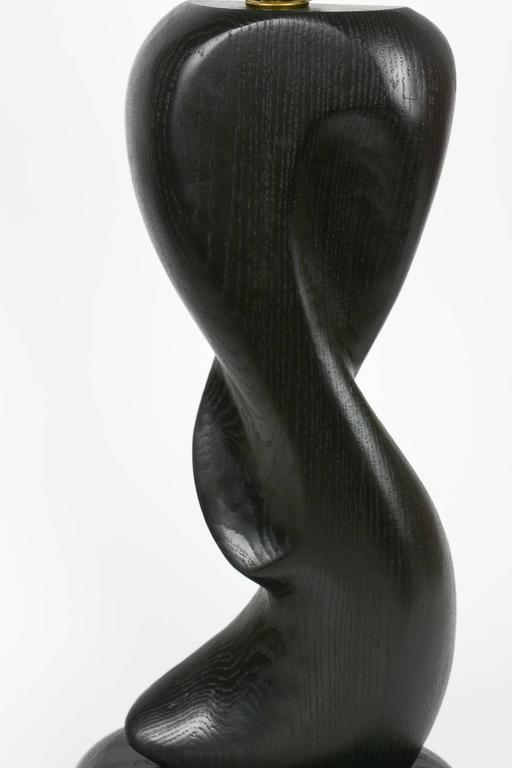 Pair of Cerused Black, Hand-Carved Lamps with Sensual Curves in French Oak For Sale 2
