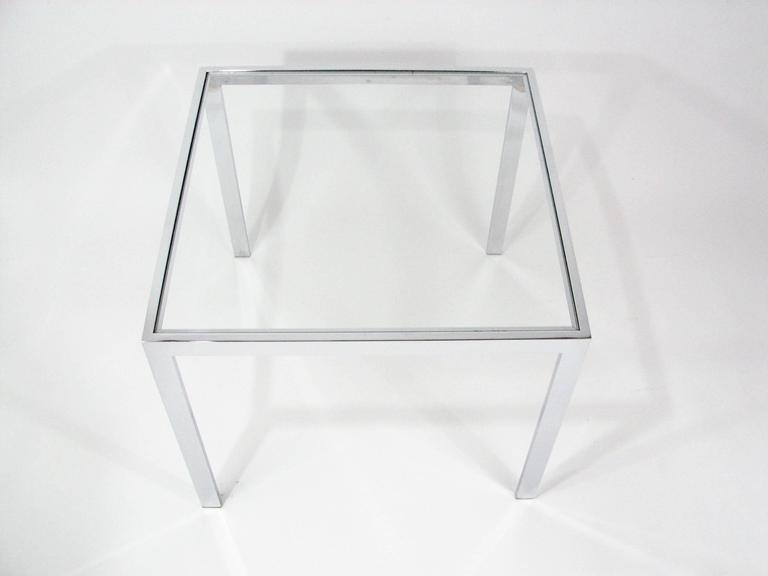 American Pair of Chrome and Glass End Tables by Milo Baughman For Sale