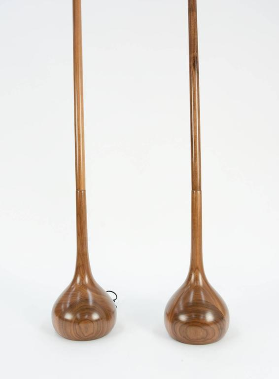 Pair of Hand-Carved European Walnut Tulip Bulb Floor Lamps In Excellent Condition For Sale In Portland, OR