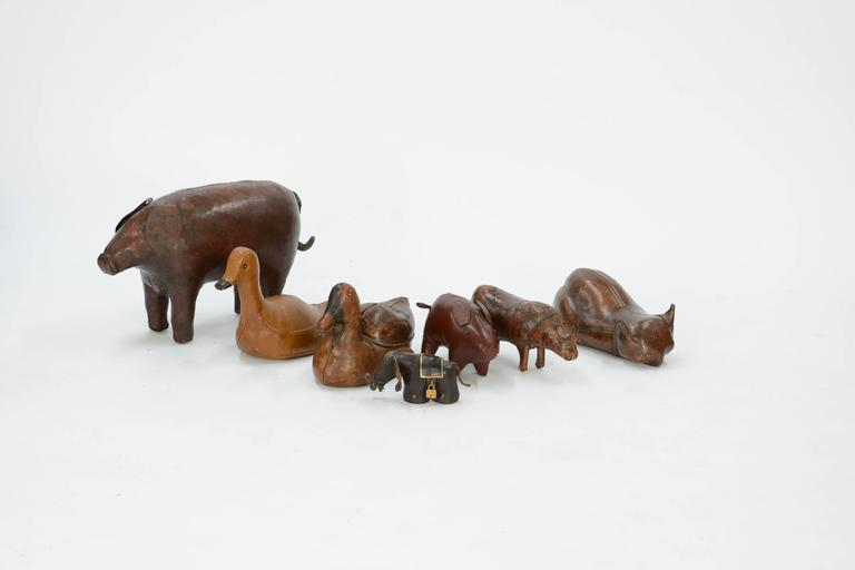 Leather 14-Piece Zoo by Dimitri Omersa for Abercrombie & Fitch For Sale