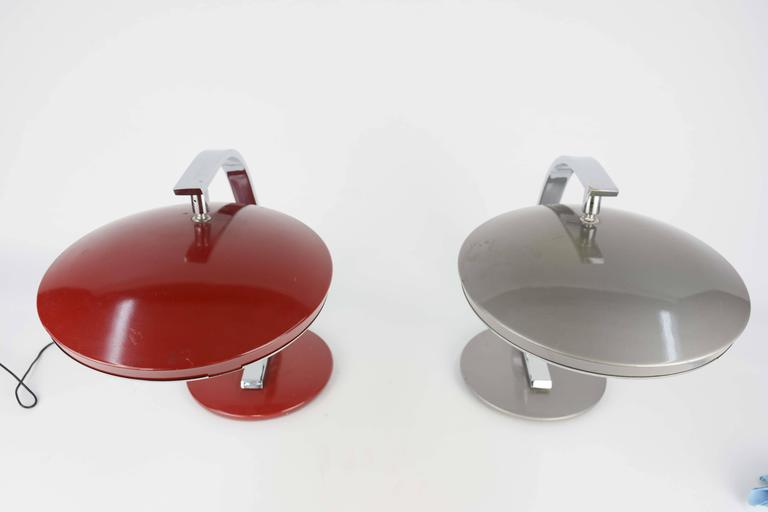 Spanish Pair of 1960s Fase of Spain Table Lamps in Red and Silver For Sale