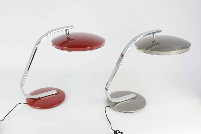 Mid-20th Century Pair of 1960s Fase of Spain Table Lamps in Red and Silver For Sale