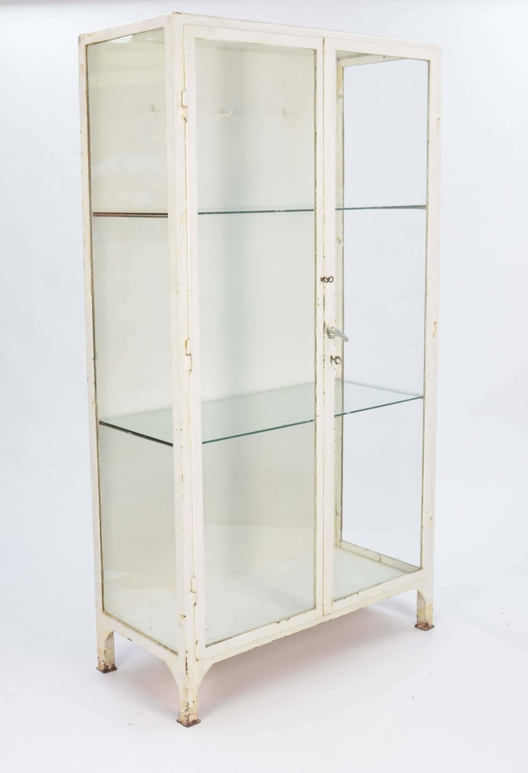 Industrial Up to Three 1940s Double Bank Steel Medical Cabinet For Sale
