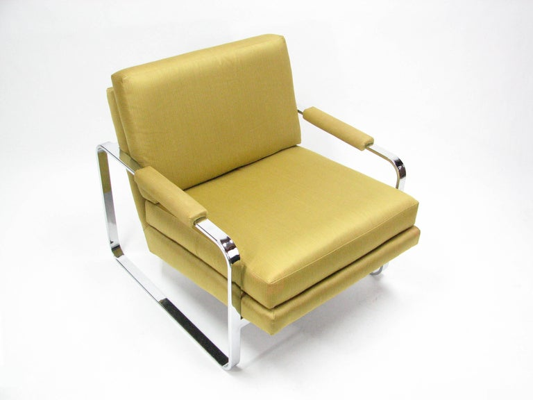 Flat Bar Chromed Steel and Silk Lounge Chair in the manner of Milo Baughman 4
