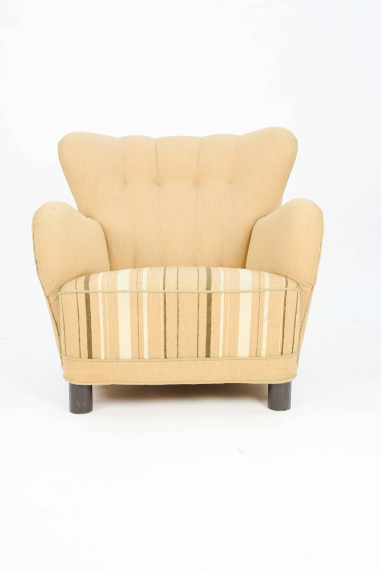1940s, Danish Club Chair by Flemming Lassen in Burlap 2
