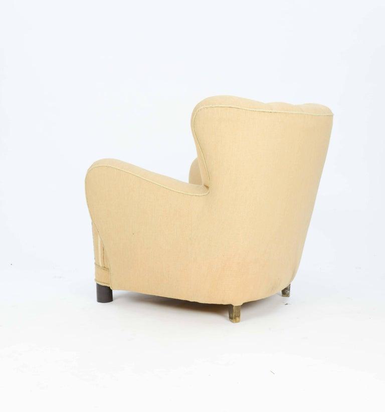 1940s, Danish Club Chair by Flemming Lassen in Burlap 4