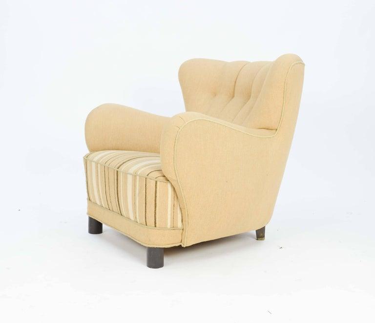 1940s, Danish Club Chair by Flemming Lassen in Burlap 5