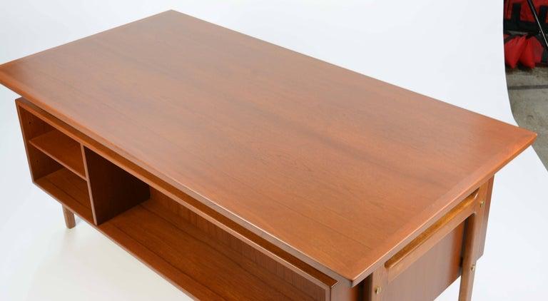 Teak Wonderful Executive Desk by Torben Strandgaard for Falster Mobler of Denmark For Sale