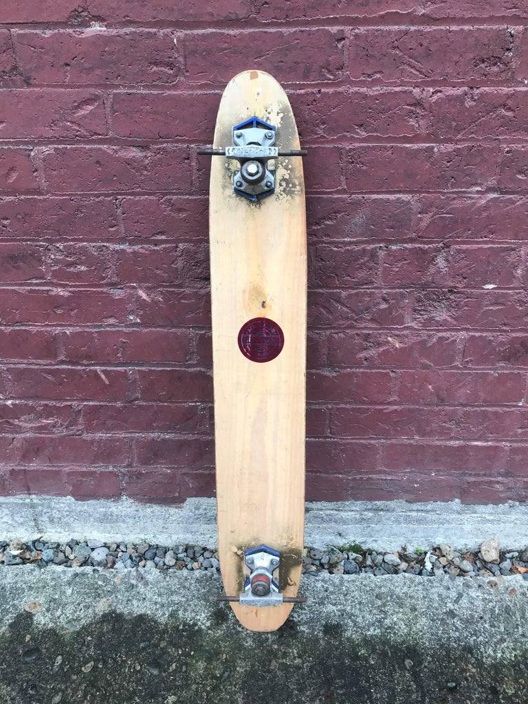 1960s Sidewalk Surfboard Malibu by Champion Longboard Skateboard Deck In Fair Condition For Sale In Portland, OR