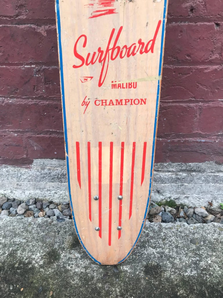 Mid-Century Modern 1960s Sidewalk Surfboard Malibu by Champion Longboard Skateboard Deck For Sale