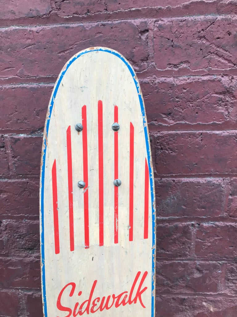 American 1960s Sidewalk Surfboard Malibu by Champion Longboard Skateboard Deck For Sale