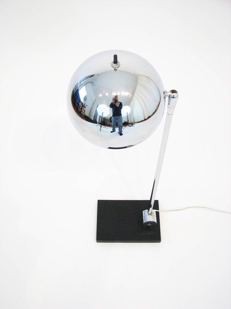 Midcentury Polished-Chrome Orb Table Lamp by Robert Sonneman 2