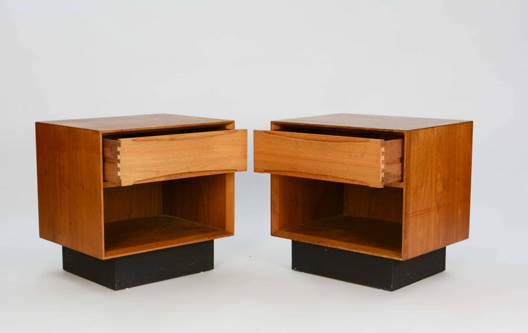 Danish Pair of Drylund or Denmark's Nightstands in Teak After Arne Vodder For Sale
