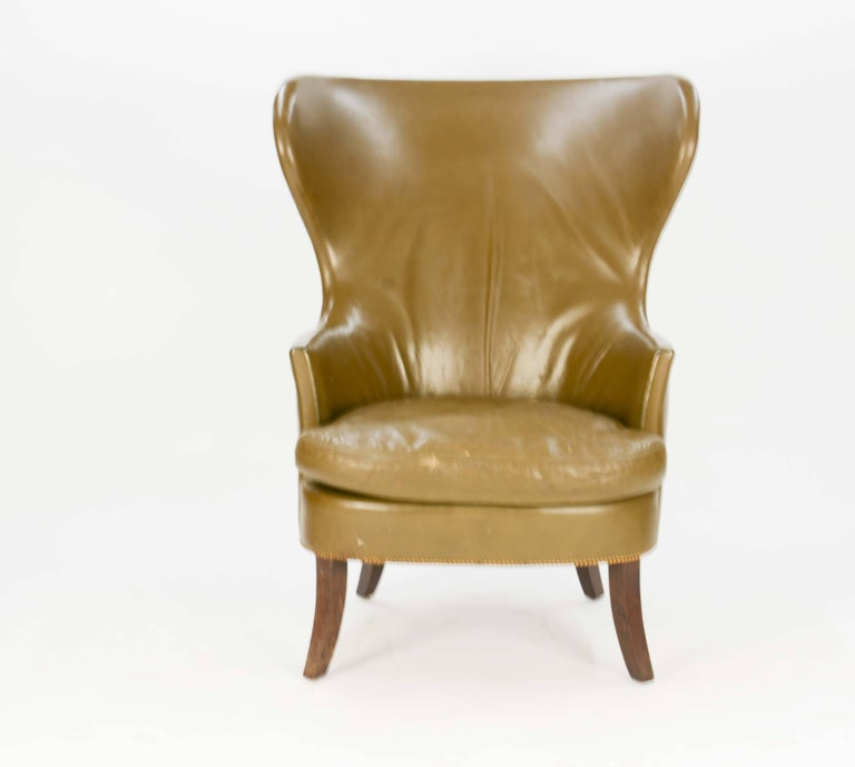 Scandinavian Modern Pair of Custom Made-to-Order Regal Wingback Club Chairs For Sale