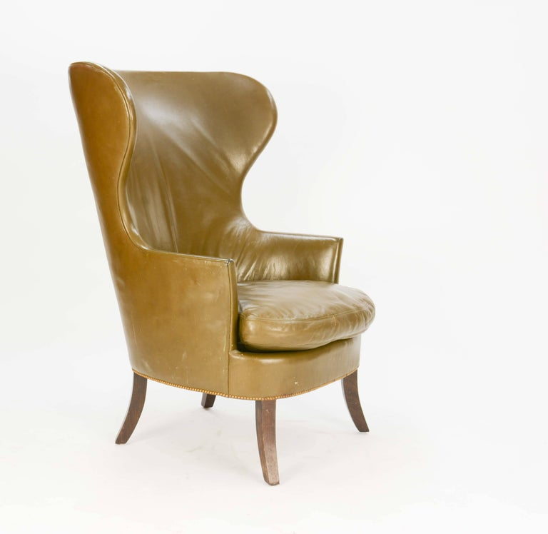 Danish Pair of Custom Made-to-Order Regal Wingback Club Chairs For Sale