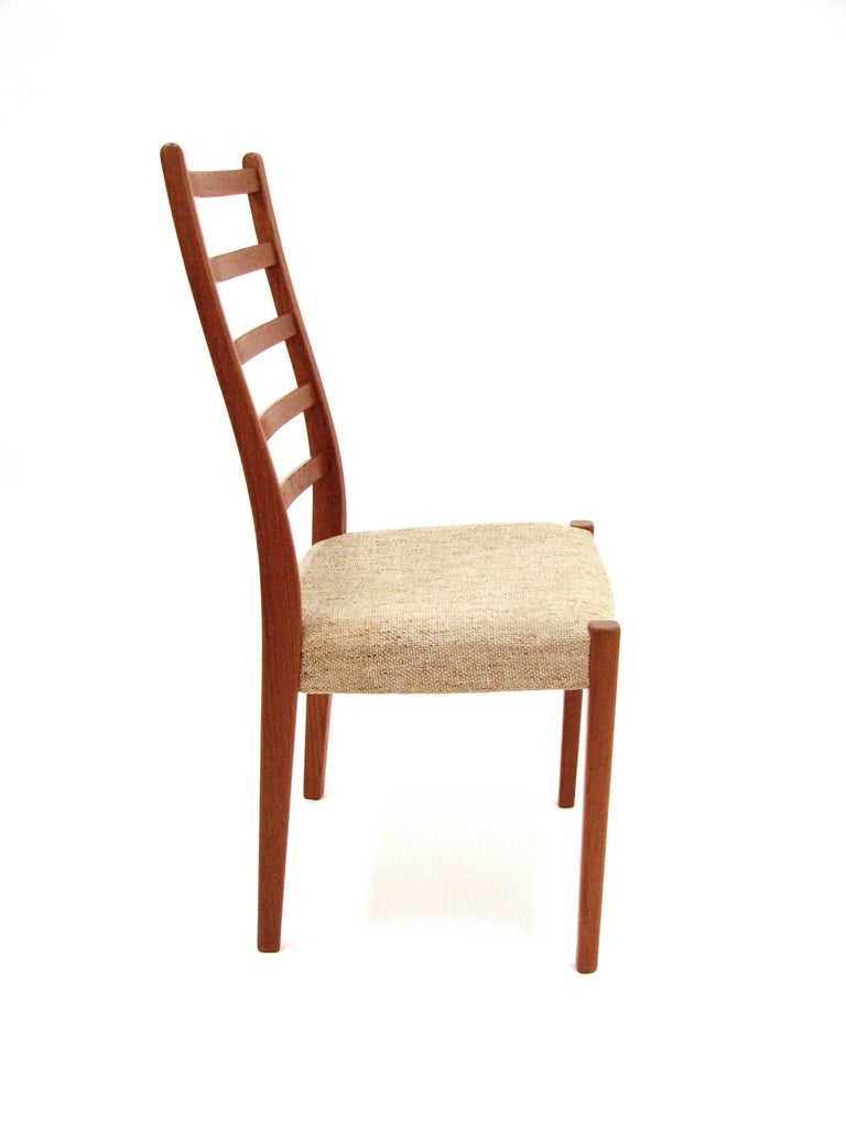 Mid-Century Modern Set of Four Teak Ladder Back Swedish Dining Chairs by Svegards Markaryd For Sale