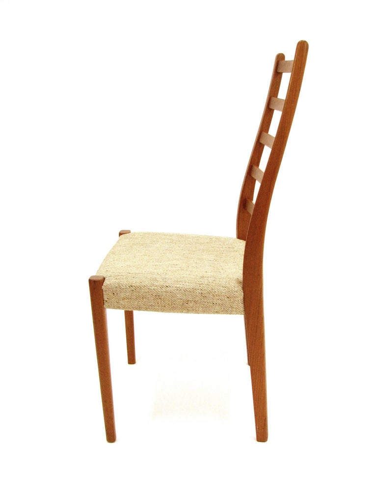 Set of Four Teak Ladder Back Swedish Dining Chairs by Svegards Markaryd In Good Condition For Sale In Portland, OR