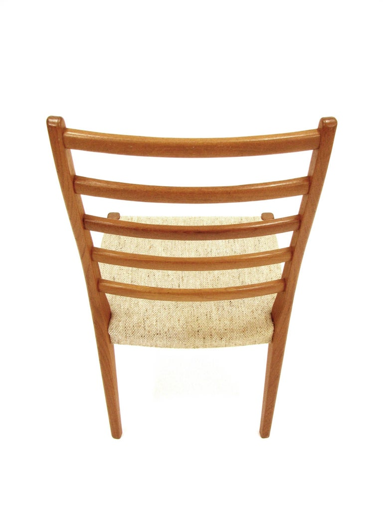 Woven Set of Four Teak Ladder Back Swedish Dining Chairs by Svegards Markaryd For Sale