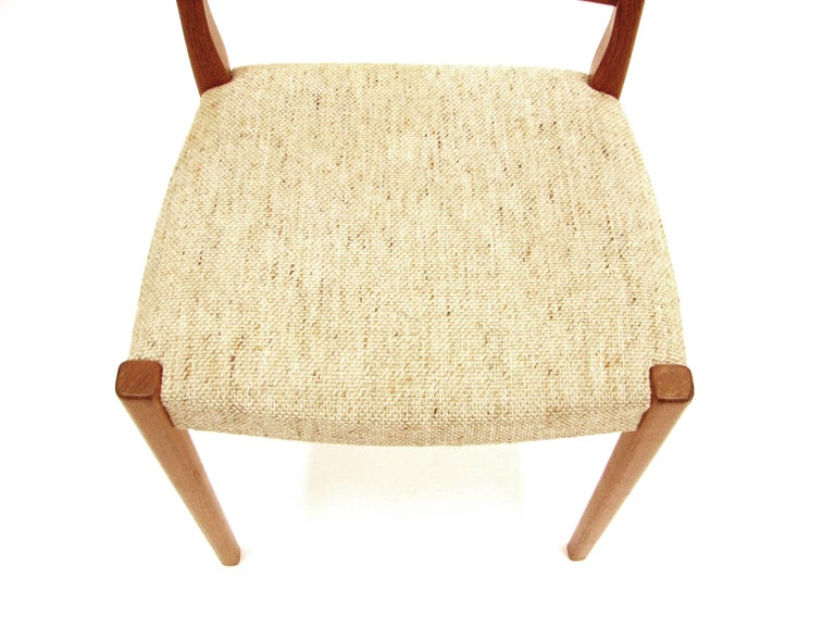 Wool Set of Four Teak Ladder Back Swedish Dining Chairs by Svegards Markaryd For Sale