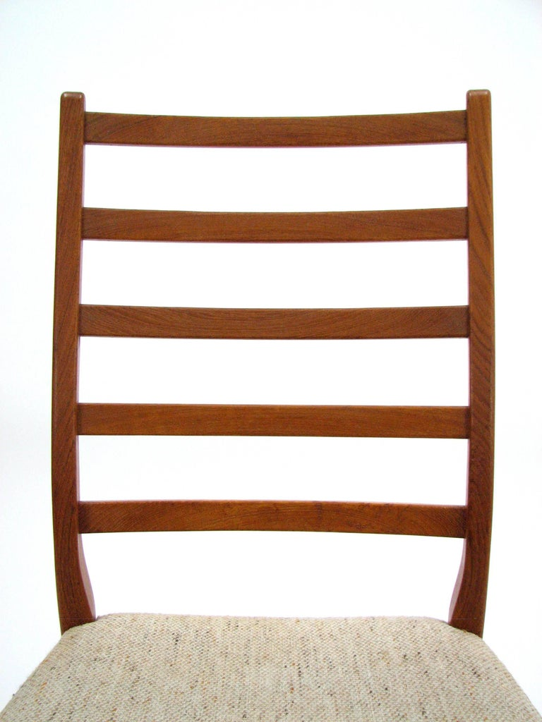 Late 20th Century Set of Four Teak Ladder Back Swedish Dining Chairs by Svegards Markaryd For Sale