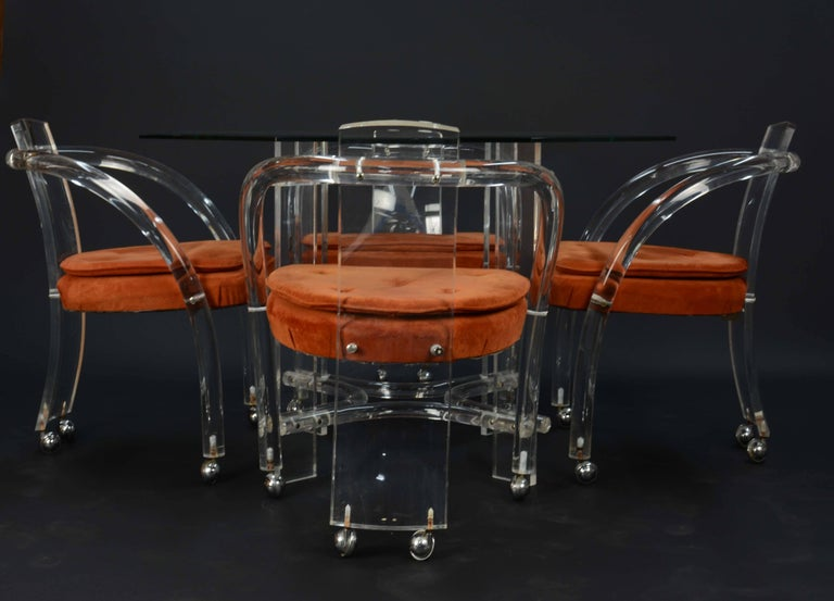 Lucite and Glass Dining Set after Charles Hollis Jones by Hill Furniture In Good Condition For Sale In Portland, OR