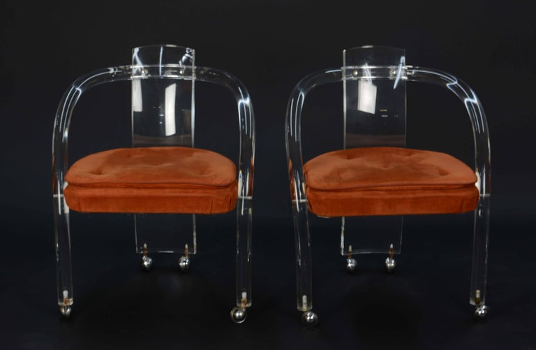 Lucite and Glass Dining Set after Charles Hollis Jones by Hill Furniture For Sale 1