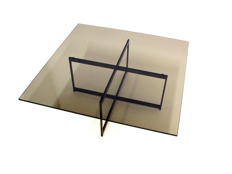 American Midcentury Smoked Glass and Bronze Coffee Table in the Manner of Milo Baughman For Sale