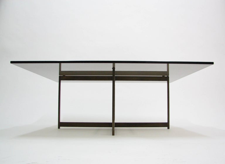 Mid-Century Modern Midcentury Smoked Glass and Bronze Coffee Table in the Manner of Milo Baughman For Sale