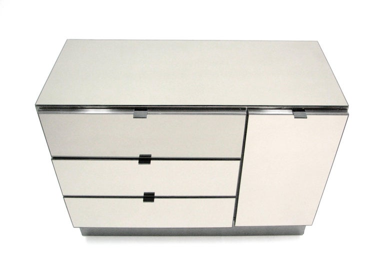 Ello Lightly Smoked Mirror and Brushed Chrome Three-Drawer Credenza 2