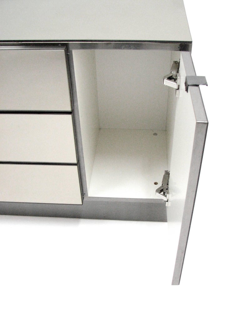 Ello Lightly Smoked Mirror and Brushed Chrome Three-Drawer Credenza 3