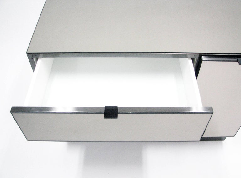 Ello Lightly Smoked Mirror and Brushed Chrome Three-Drawer Credenza 6