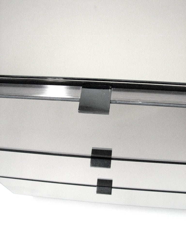 Ello Lightly Smoked Mirror and Brushed Chrome Three-Drawer Credenza 5