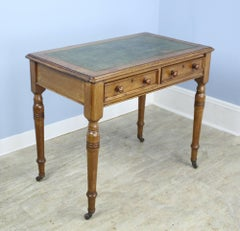 Antique Leather Topped Side Table with Turned Legs