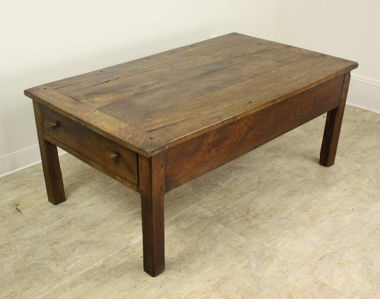 antique french oak country coffee table, two drawers at 1stdibs