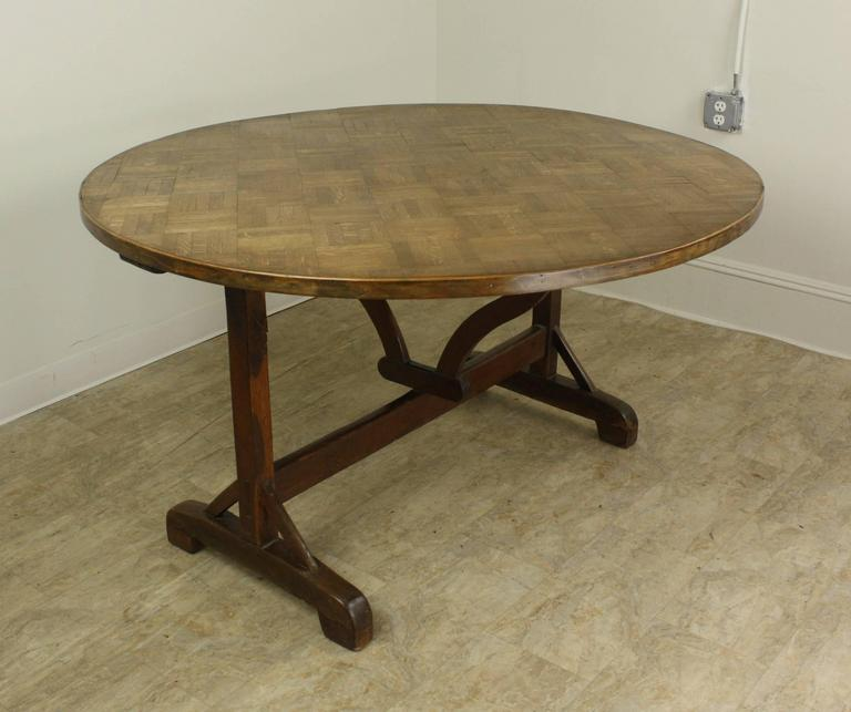 Unusual antique oak parquet topped round vendange table for Unusual oak dining tables