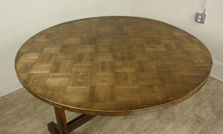 Unusual antique oak parquet topped round vendange table for Unusual round dining tables
