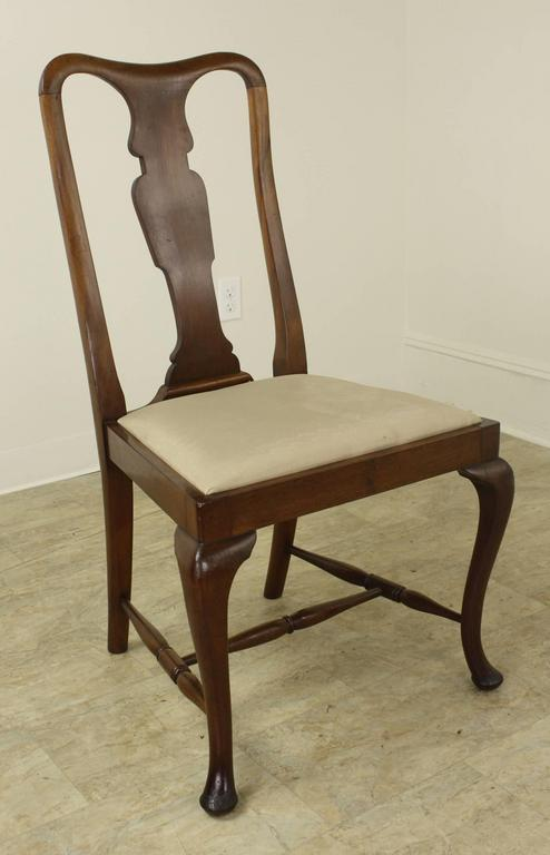 Set of Six Antique Oak Queen Anne Style Dining Chairs at ...